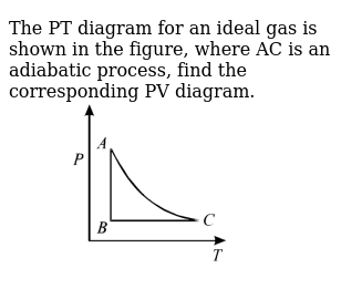 """The PT diagram for an ideal gas is shown in the figure, where AC is an adiabatic process, find the corresponding PV diagram. <br> <img src=""""https://d10lpgp6xz60nq.cloudfront.net/physics_images/JMA_HTG_C09_050_Q01.png"""" width=""""80%"""">"""