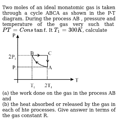 """Two moles of an ideal monatomic gas is taken through a cycle ABCA as shown in the P-T diagram. During the process AB , pressure and temperature of the gas very such that `PT=Constant`. It `T_1=300K`, calculate <br> <img src=""""https://d10lpgp6xz60nq.cloudfront.net/physics_images/JMA_HTG_C09_129_Q01.png"""" width=""""80%""""> <br> (a) the work done on the gas in the process AB and <br> (b) the heat absorbed or released by the gas in each of hte processes. Give answer in terms of the gas constant R."""