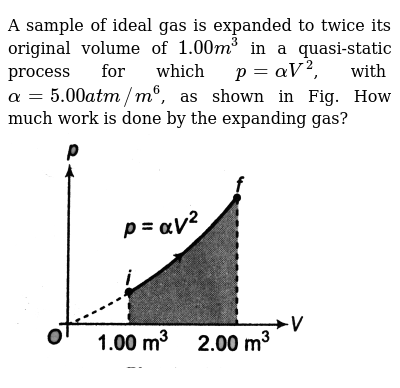 """A sample of ideal gas is expanded to twice its original volume of `1.00m^3` in a quasi-static process for which `p=alphaV^2`, with `alpha=5.00 atm//m^6`, as shown in Fig. How much work is done by the expanding gas? <br> <img src=""""https://d10lpgp6xz60nq.cloudfront.net/physics_images/DCP_V03_CH21_E01_014_Q01.png"""" width=""""80%"""">"""