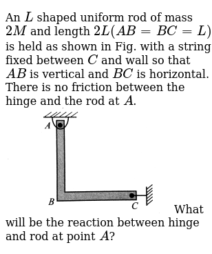An `L` shaped uniform rod of mass `2M` and length `2L (AB = BC = L)` is held as shown in F