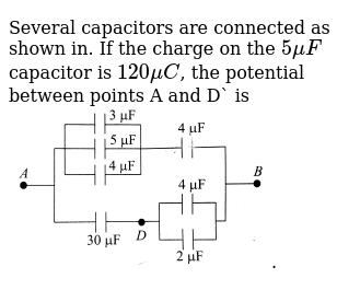Several capacitors are connected as shown in. If the charge on the `5 muF` capacitor is `1