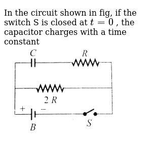 In the circuit shown in fig, if the switch S is closed at `t = 0` , the capacitor charges