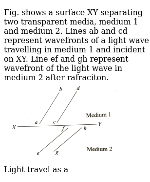 """Fig. shows a surface XY separating two transparent media, medium 1 and medium 2. Lines ab and cd represent wavefronts of a light wave travelling in medium 1 and incident on XY. Line ef and gh represent wavefront of the light wave in medium 2 after rafraciton. <br> <img src=""""https://d10lpgp6xz60nq.cloudfront.net/physics_images/BMS_V04_C02_E01_305_Q01.png"""" width=""""80%""""> <br> Light travel as a"""