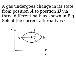 """A gas undergoes change in its state from position `A` to position `B` via three different path as shown in Fig. Select the correct alternatives : <br> <img src=""""https://d10lpgp6xz60nq.cloudfront.net/physics_images/BMS_V06_C02_E01_216_Q01.png"""" width=""""80%"""">"""