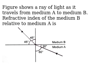 """Figure shows a ray of light as it travels from medium A to medium B. Refractive index of the medium B relative to medium A is <br> <img src=""""https://d10lpgp6xz60nq.cloudfront.net/physics_images/PR_X_V01_C01_E01_074_Q01.png"""" width=""""80%"""">"""