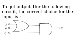 To get output `1`for the following circuit, the correct choice for the input is : <br> <im
