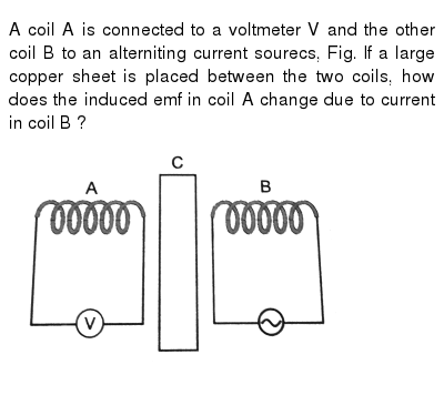 A coil A is connected to a voltmeter V and the other coil B to an alterniting current sour