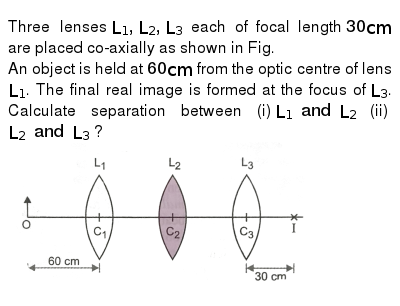"""Three lenses `L_(1), L_(2), L_(3)` each of focal length `30 cm` are placed co-axially as shown in Fig. <br> An object is held at `60 cm` from the optic centre of lens `L_(1)`. The final real image is formed at the focus of `L_(3)`. Calculate separation between (i) `L_(1) and L_(2)` (ii) `L_(2) and L_(3)` ? <br> <img src=""""https://d10lpgp6xz60nq.cloudfront.net/physics_images/PR_XII_V02_C06_S01_132_Q01.png"""" width=""""80%"""">"""