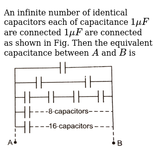 An infinite number of identical capacitors each of capacitance  `1 muF` are connected `1 m
