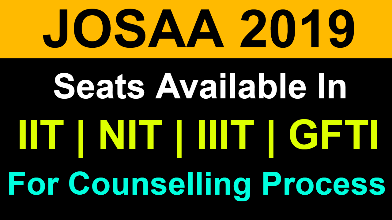 JOSAA Counselling 2019 | Total Seats in IIT NIT IIIT and GFTI by Category