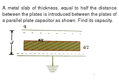 """A metal slab of thickness, equal to half the distance between the plates is introduced between the plates of a parallel plate capacitor as shown. Find its capacity. <br> <img src=""""https://d10lpgp6xz60nq.cloudfront.net/physics_images/NAR_PHY_V02_XII_C03_S01_001_Q01.png"""" width=""""80%"""">."""