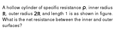 A hollow cylinder of specific resistance `rho`, inner radius `R`, outer radius `2R` and length 1 is as shown in figure. What is the net resistance between the inner and outer surfaces?