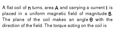 A flat coil of `n` turns, area `A` and carrying a current `I` is placed in a uniform magne