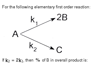 """For the following elementary first order reaction: <br> <img src=""""https://d10lpgp6xz60nq.cloudfront.net/physics_images/FIT_JEE_FT_I_P1_E01_031_Q01.png"""" width=""""80%""""> <br> If `k_(2)=2k_(1)`, then `%` of B in overall product is:"""