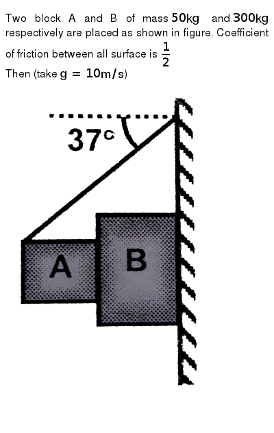 """Two block A and B of mass `50 kg` and `300 kg` respectively are placed as shown in figure. Coefficient of friction between all surface is `(1)/(2)` <br> Then (take `g = 10 m//s`) <br>  <img src=""""https://d10lpgp6xz60nq.cloudfront.net/physics_images/FIT_JEE_FT_I_P6_E01_324_Q01.png"""" width=""""80%"""">"""