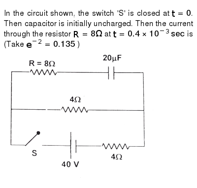 In the circuit shown, the switch 'S' is closed at `t =0`. Then capacitor is initially unch