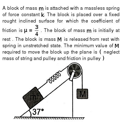 """A block of mass `m` is attached with a massless spring of force constant `k`. The block is placed over a fixed rought inclined surface for which the coefficient of friction is `mu=(3)/(4)` . The block of mass `m`  is initially at rest . The block is mass `M` is released  from rest with spring in unstretched state. The minimum value of `M` required to move the block up the plane is `(` neglect mass of string and pulley and friction in pulley `)` <br> <img src=""""https://d10lpgp6xz60nq.cloudfront.net/physics_images/RES_PHY_DPP_37_XI_E01_304_Q01.png"""" width=""""80%"""">"""