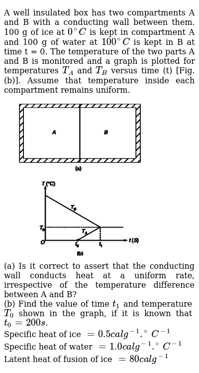 """A well insulated box has two compartments A and B with a conducting wall between them. 100 g of ice at `0^(@)C` is kept in compartment A and 100 g of water at `100^(@)C` is kept in B at time t = 0. The temperature of the two parts A and B is monitored and a graph is plotted for temperatures `T_(A)` and `T_(B)` versus time (t) [Fig. (b)]. Assume that temperature inside each compartment remains uniform. <br> <img src=""""https://d10lpgp6xz60nq.cloudfront.net/physics_images/IJA_PHY_V02_C02_E01_023_Q01.png"""" width=""""80%"""">  <br> (a) Is it correct to assert that the conducting wall conducts heat at a uniform rate, irrespective of the temperature difference between A and B? <br> (b) Find the value of time `t_(1)` and temperature `T_(0)` shown in the graph, if it is known that `t_(0) = 200 s`.  <br> Specific heat of ice `= 0.5 cal g^(-1) .^(@)C^(-1)`  <br> Specific heat of water `= 1.0 cal g^(-1) .^(@)C^(-1)` <br>  Latent heat of fusion of ice `= 80 cal g^(-1)`"""