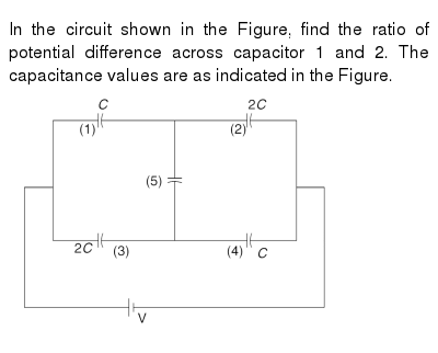 In the circuit shown in the Figure, find the ratio of potential difference across capacito