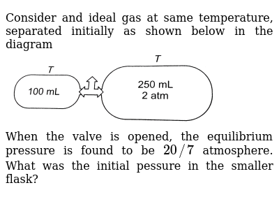 """Consider and ideal gas at same temperature, separated initially as shown below in the diagram <br> <img src=""""https://d10lpgp6xz60nq.cloudfront.net/physics_images/ARH_40Y_SP_IJ_CHM_C05_E01_106_Q01.png"""" width=""""80%""""> <br> When the valve is opened, the equilibrium pressure is found to be `20//7` atmosphere. What was the initial pessure in the smaller flask?"""