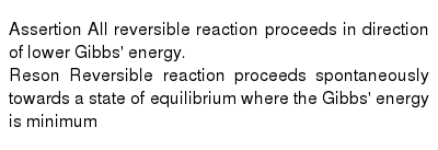 Assertion All reversible reaction proceeds in direction of lower Gibbs' energy. <br> Reson Reversible reaction proceeds spontaneously towards a state of equilibrium where the Gibbs' energy is minimum