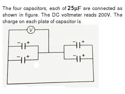 The four capacitors, each of `25 muF` are connected as shown in figure. The DC voltmeter r