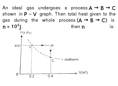 """An ideal gas undergoes a process `ArarrBrarrC` shown in `P-V` graph. Then total heat given to the gas during the whole process `(ArarrBrarrC)` is `nxx10^(4)J`, then `n` is: <img src=""""https://d10lpgp6xz60nq.cloudfront.net/physics_images/RES_P06_16_MT_E01_095_Q01.png"""" width=""""80%"""">"""