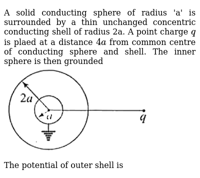 """A solid conducting sphere of radius 'a' is surrounded by a thin unchanged concentric conducting shell of radius 2a. A point charge `q` is plaed at a distance `4a` from common centre of conducting sphere and shell. The inner sphere is then grounded <br> <img src=""""https://d10lpgp6xz60nq.cloudfront.net/physics_images/BMS_PHY_EAC_DPP3_5_E01_079_Q01.png"""" width=""""80%""""> <br> The potential of outer shell is"""