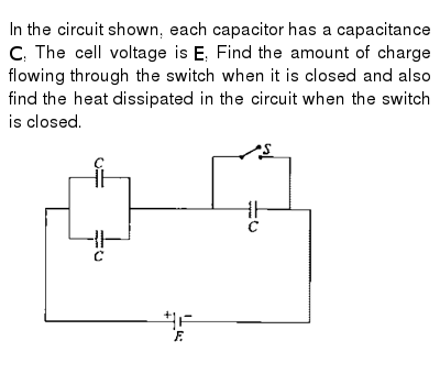 In the circuit shown, each capacitor has a capacitance `C`, The cell voltage is `E`, Find