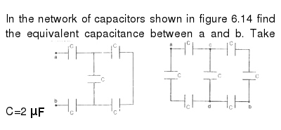 In the network of capacitors shown in figure 6.14 find the equivalent capacitance between
