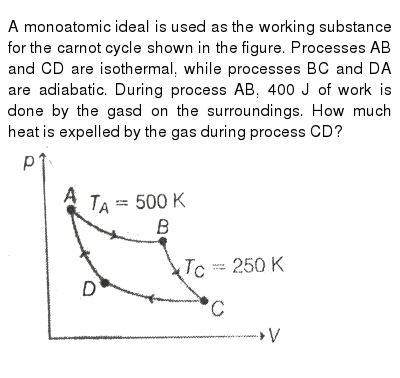 """A monoatomic ideal is used as the working substance for the carnot cycle shown in the figure. Processes AB and CD are isothermal, while processes BC and DA are adiabatic. During process AB, 400 J of work is done by the gasd on the surroundings. How much heat is expelled by the gas during process CD? <br> <img src=""""https://d10lpgp6xz60nq.cloudfront.net/physics_images/MPP_PHY_C13_E01_170_Q01.png"""" width=""""80%"""">"""