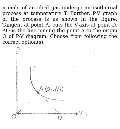 """n mole of an ideal gas undergo an isothernal process at temperature T. Further, P-V graph of the process is as shown in the figure. Tangent at point A, cuts the V-axis at point D. AO is the line joining the point A to the origin O of P-V diagram. Choose from following the correct option(s). <br> <img src=""""https://d10lpgp6xz60nq.cloudfront.net/physics_images/MPP_PHY_C13_E01_230_Q01.png"""" width=""""80%"""">"""