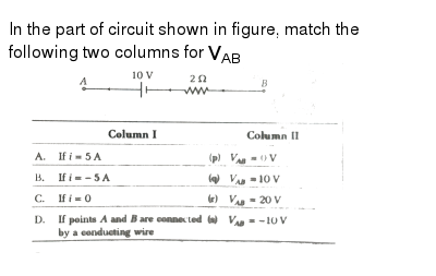"""In the part of circuit shown in figure, match the following two columns for `V_(AB)` <br> <img src=""""https://d10lpgp6xz60nq.cloudfront.net/physics_images/ARH_NEET_PHY_OBJ_V02_C03_E01_232_Q01.png"""" width=""""80%"""">"""