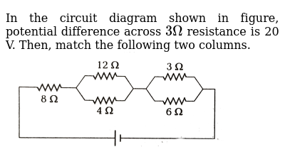 """In the circuit diagram shown in figure, potential difference across `3Omega` resistance is 20 V. Then, match the following two columns. <br> <img src=""""https://d10lpgp6xz60nq.cloudfront.net/physics_images/ARH_NEET_PHY_OBJ_V02_C03_E01_234_Q01.png"""" width=""""80%"""">"""