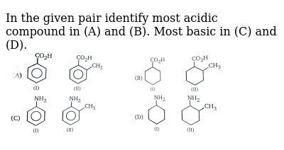 """In the given pair identify most acidic compound in (A) and (B). Most basic in (C) and (D). <br> <img src=""""https://d10lpgp6xz60nq.cloudfront.net/physics_images/MSC_ORG_CHM_C01_E01_016_Q01.png"""" width=""""80%"""">"""