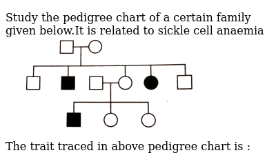 """Study  the pedigree chart of a certain family given below.It is related to sickle cell anaemia <br>  <img src=""""https://d10lpgp6xz60nq.cloudfront.net/physics_images/GRB_OBJ_BIO_IIND_C51_E01_583_Q01.png"""" width=""""80%""""> <br> The trait traced in above pedigree chart is :"""