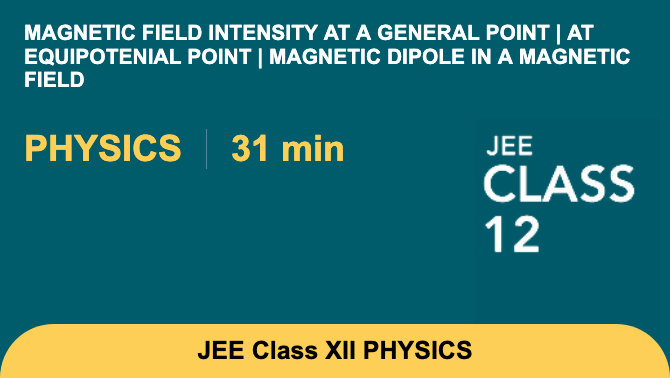 Magnetic field intensity at a general point | at equipotenial point | magnetic dipole in a