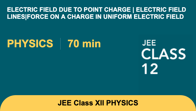 Electric field due to point charge | Electric field lines|Force on a charge in uniform ele