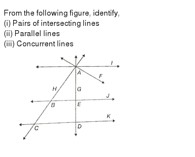 "From the following figure, identify, <br> (i) Pairs of intersecting lines <br> (ii) Parallel lines <br> (iii) Concurrent lines <br> <img src=""https://d10lpgp6xz60nq.cloudfront.net/physics_images/PS_MATH_VI_C08_E04_014_Q01.png"" width=""80%"">"