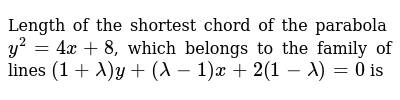 Length of the shortest chord of the parabola `y^2=4x+8`, which belongs to the family of lines `(1+lambda)y+(lambda-1)x+2(1-lambda)=0` is