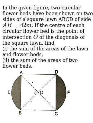 """In the given figure, two circular flower beds have been shown on two sides of a square lawn ABCD of side `AB=42m`. If the centre of each circular flower bed is the point of intersection `O` of the diagonals of the square lawn, find  <br> (i) the sum of the areas of the lawn and flower beds, <br> (ii) the sum of the areas of two flower beds. <br> <img src=""""https://d10lpgp6xz60nq.cloudfront.net/physics_images/RSA_MATH_X_C16_S01_027_Q01.png"""" width=""""80%"""">"""
