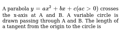 A parabola `y=ax^2 +bx + c (ac > 0)` crosses the x-axis at A and B. A variable circle is drawn passing through A and B. The length of a tangent from the origin to the circle is