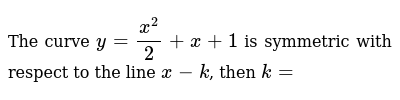 The curve  `y=x^2/2+x+1` is symmetric with respect to the line `x-k`, then `k= `