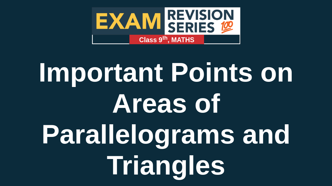 Important Points on Areas of Parallelograms and Triangles