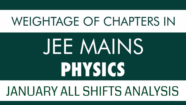 Weightage of Chapters in JEE MAIN Physics | January All Shifts Analysis | Most Important Chapters