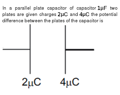 In a parallel plate capacitor of capacitor `1muF` two plates are given charges `2muC` and