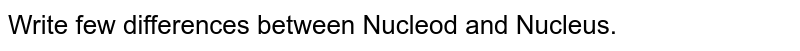 Write few differences between Nucleod and Nucleus.
