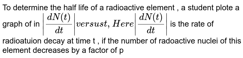 """To determine the half life of a radioactive element , a student plote a graph of in `