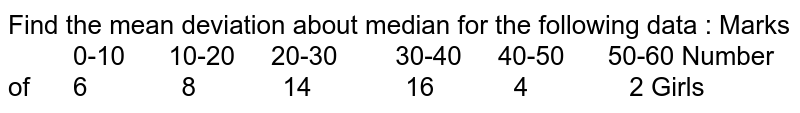 Find the mean deviation about median for the following data : Marks  0-10 10-20 20-30 30-40 40-50 50-60 Number of 6    8 14 16 4 2 Girls