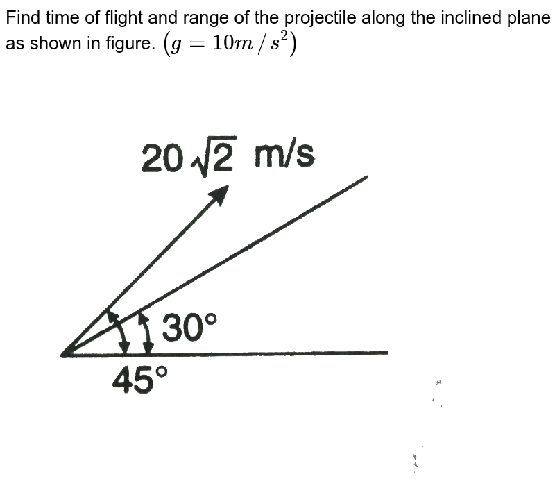 """Find time of flight and range of the projectile along the inclined plane as shown in figure. `(g = 10 m//s^2)` <br> <img src=""""https://d10lpgp6xz60nq.cloudfront.net/physics_images/DCP_V01_C07_E01_014_Q01.png"""" width=""""80%"""">"""